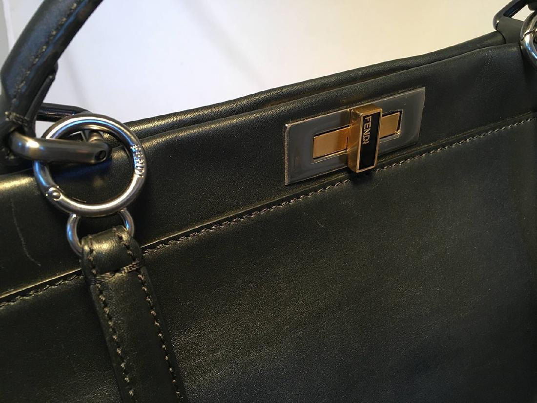 Fendi Black Leather Selleria Peekaboo Shoulder Bag Tote - 5