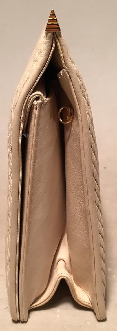 Judith Leiber Vintage Cream Pinched Leather Clutch - 2