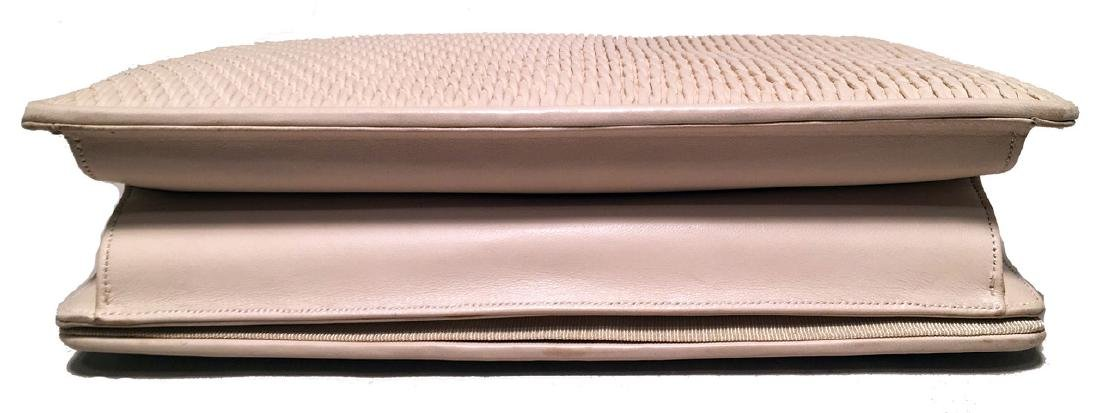 Judith Leiber Vintage Cream Pinched Leather Clutch - 4