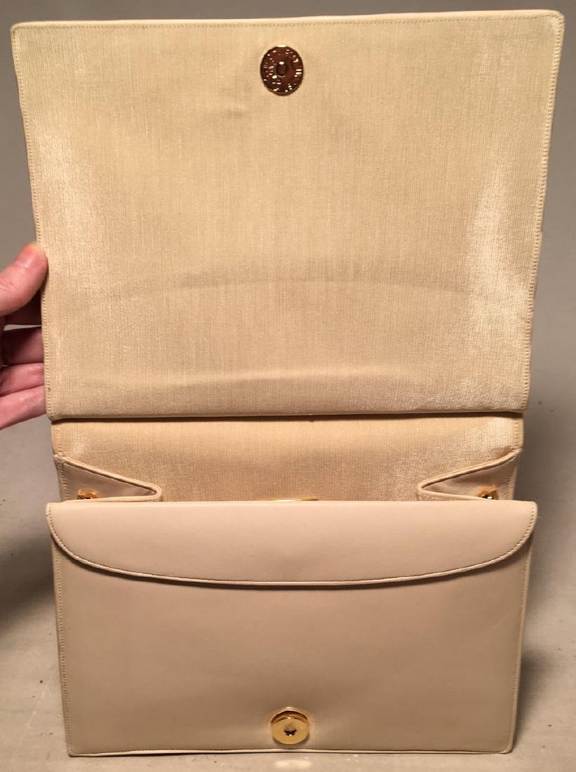Judith Leiber Vintage Cream Pinched Leather Clutch - 5