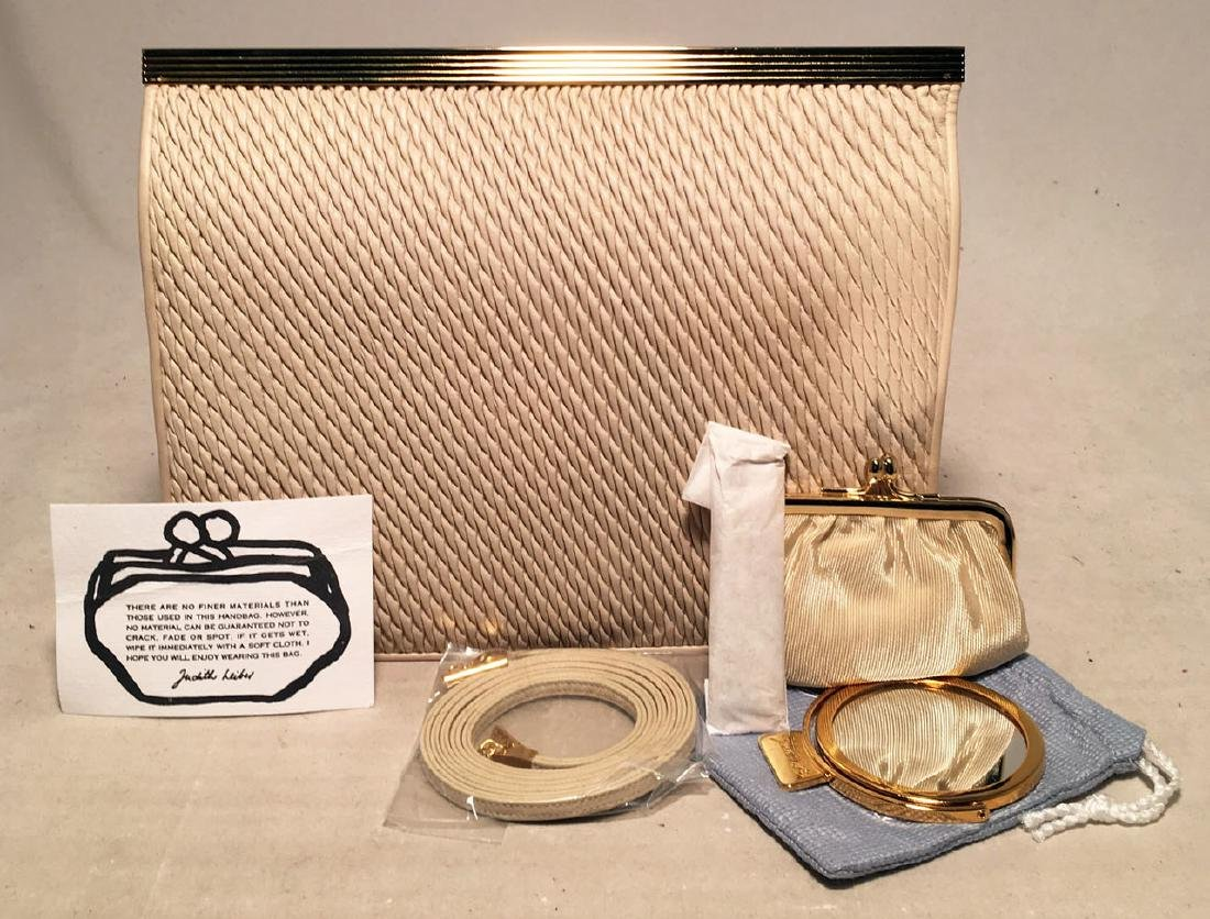 Judith Leiber Vintage Cream Pinched Leather Clutch - 9