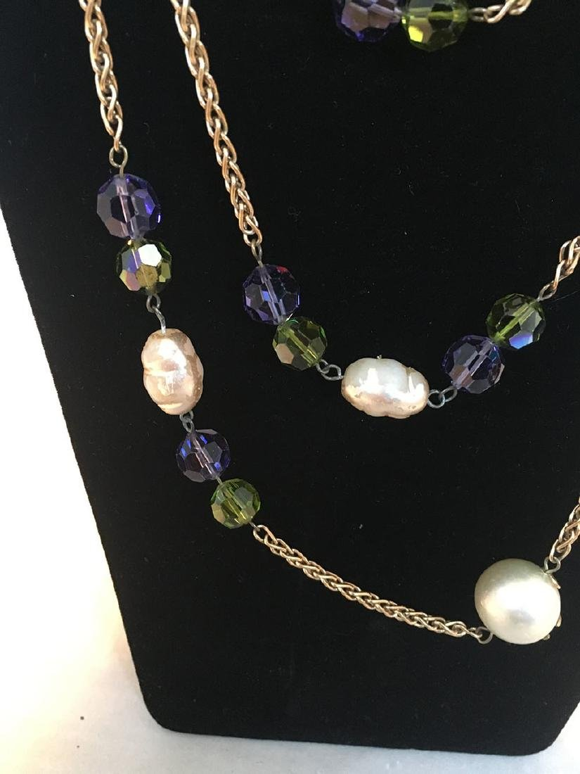 Chanel Vintage Large Pearls and Green and Purple - 2
