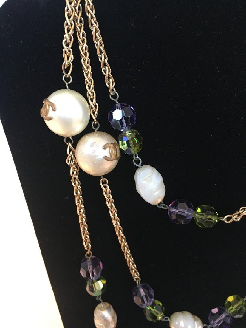 Chanel Vintage Large Pearls and Green and Purple - 3