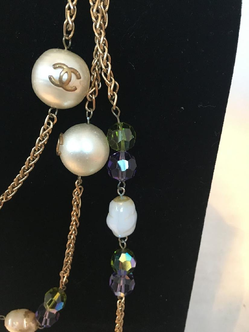 Chanel Vintage Large Pearls and Green and Purple - 4