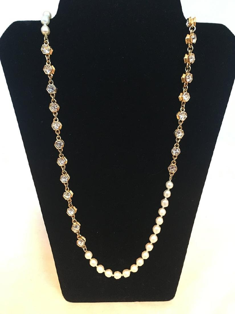 Chanel Vintage Pearl and Crystal Beaded Necklace - 2