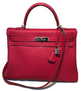 fd8df3103179 Hermes Red Rouge Chèvre Leather 35cm Kelly Bag with