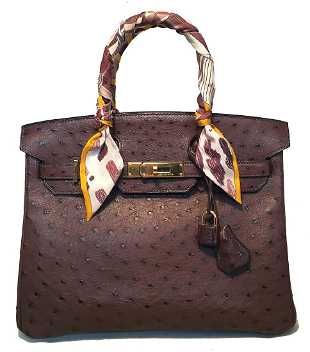 4df837dce6a793 Mauro Governa Brown Ostrich Leather Shoulder Bag