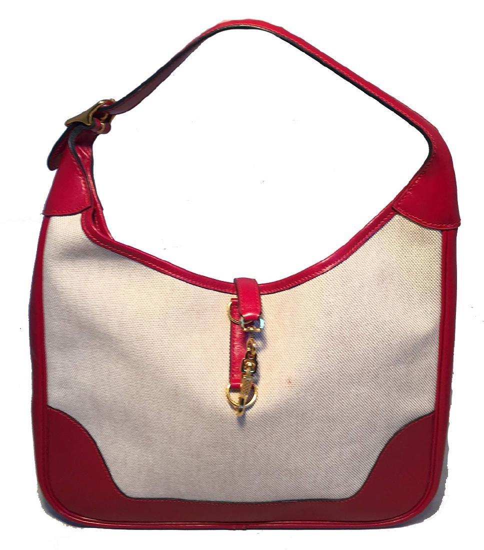 Hermes vintage Canvas and Red Leather Trim Shoulder Bag