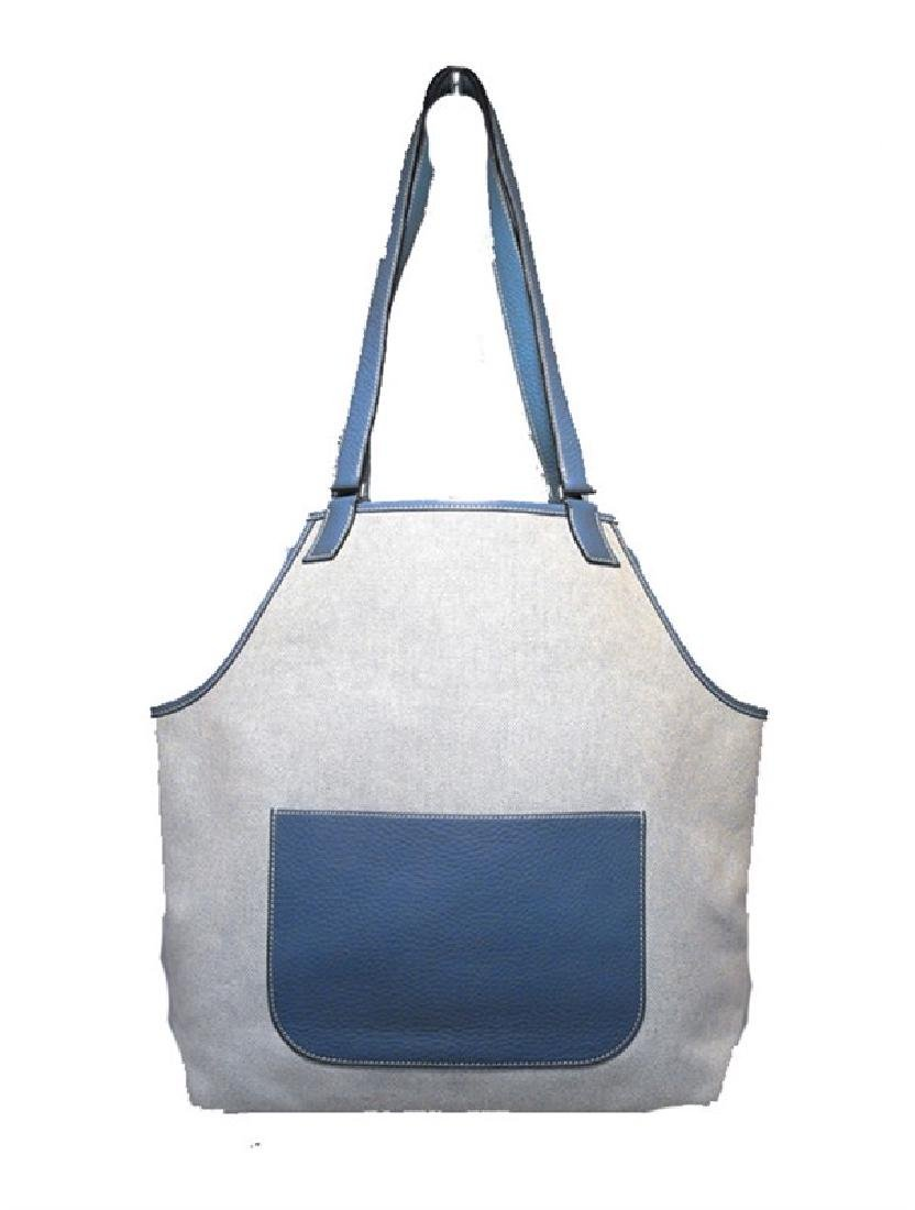Hermes Canvas Toile and Blue Clemence Leather Shoulder