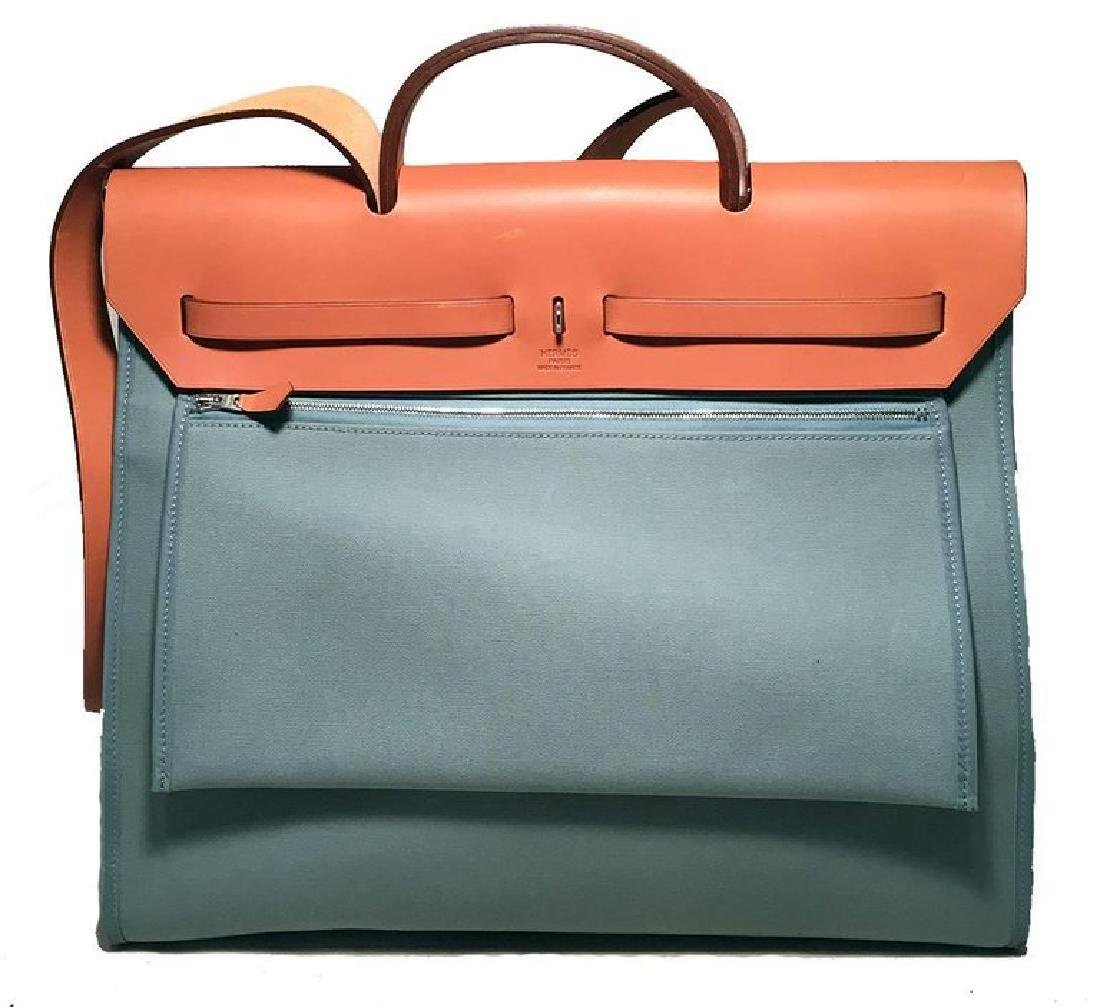 Hermes Blue Canvas Toile Herbag Tote