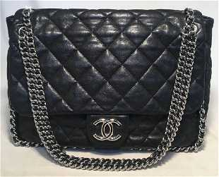 00c9e06ec16f Chanel Black Quilted Leather Chain Trim Classic Maxi