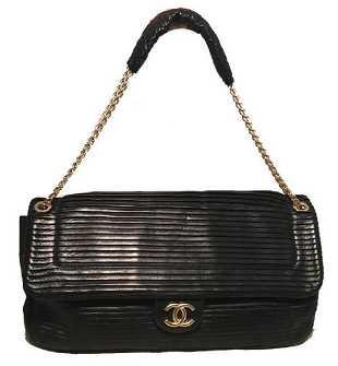 a09621b0e1ce Chanel Black Pleated Leather Classic Flap Shoulder Bag