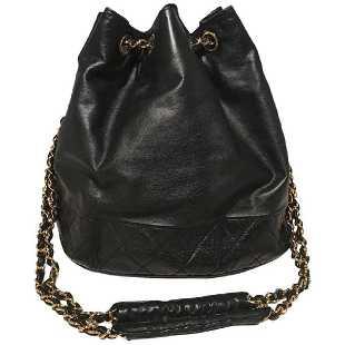 ee60116c89d4 Chanel Vintage Black Leather Drawstring Bucket Shoulder
