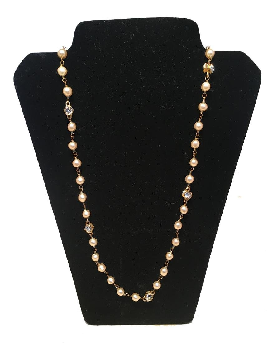 Chanel Vintage Pearl and Small Crystal Beaded Necklace