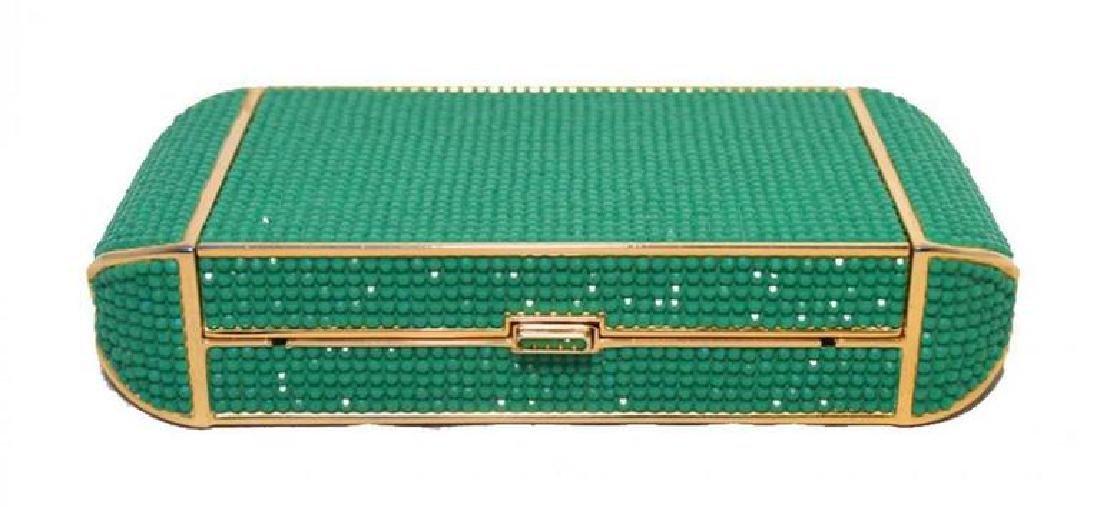 Judith Leiber Swarovski Crystal Green Minaudiere
