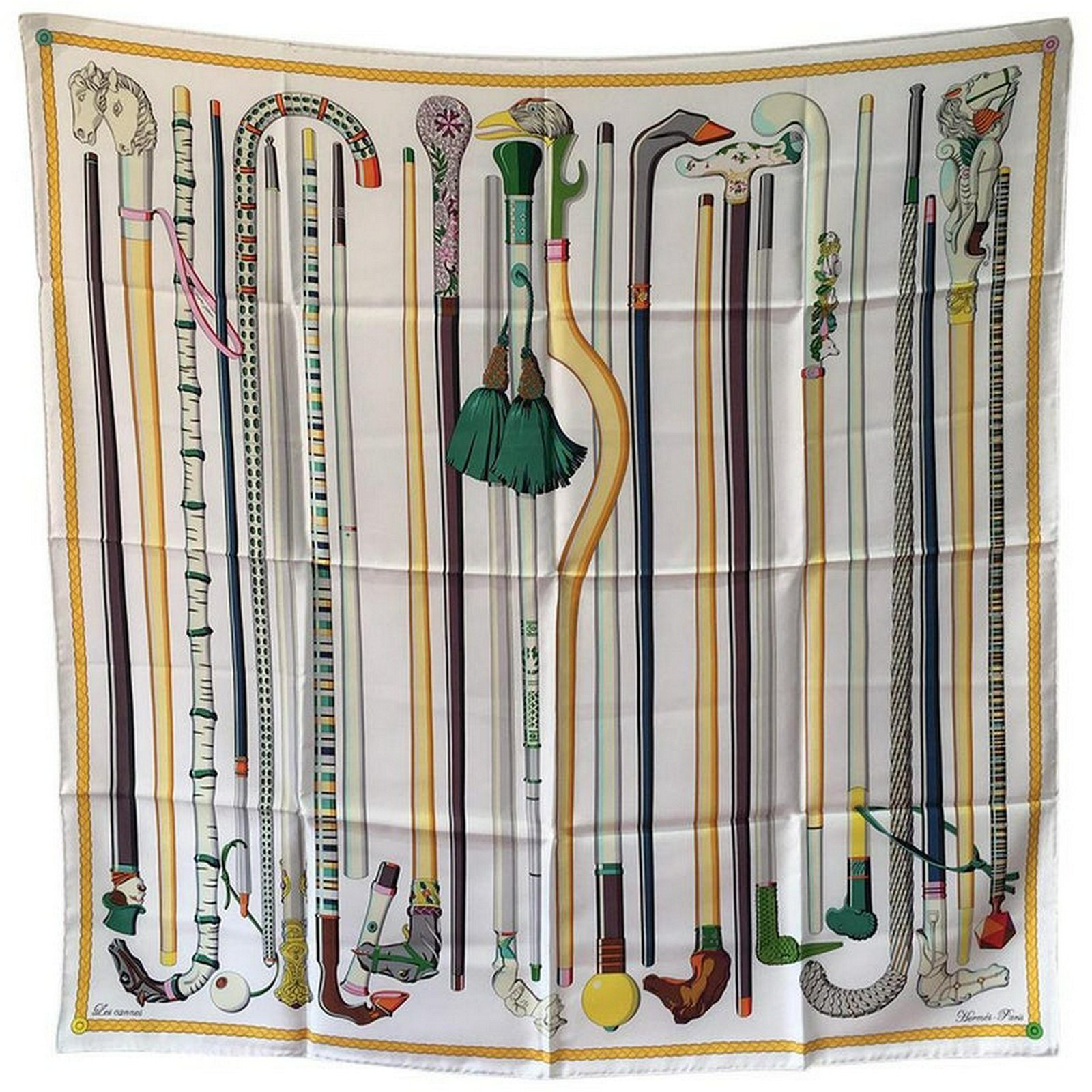 Hermes Les Cannes Silk Scarf in White