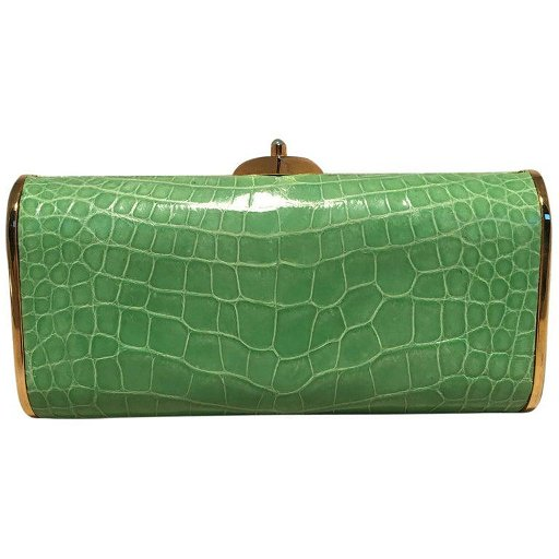 a great variety of models elegant and sturdy package for sale Judith Leiber Vintage Mini Green Alligator Clutch