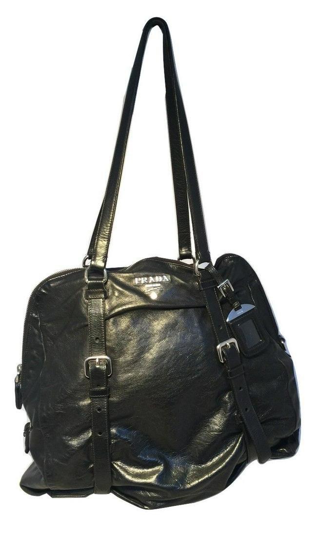Prada Black Leather Strappy Shoulder Bag