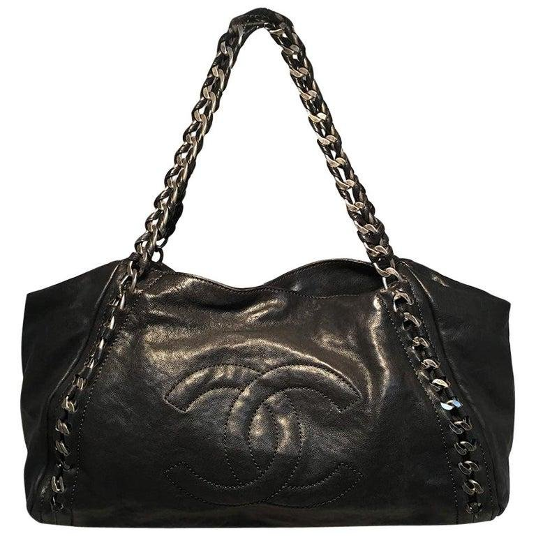 Chanel Black Leather and Chain Shoulder Bag Tote
