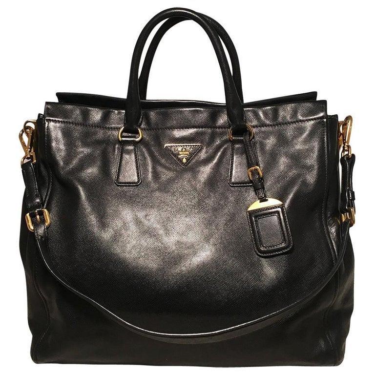 Prada Black Leather Saffiano Top Handle Tote Shoulder