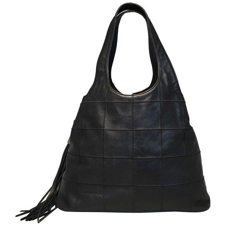 Chanel Black Leather Square Quilted Drawstring Tassel
