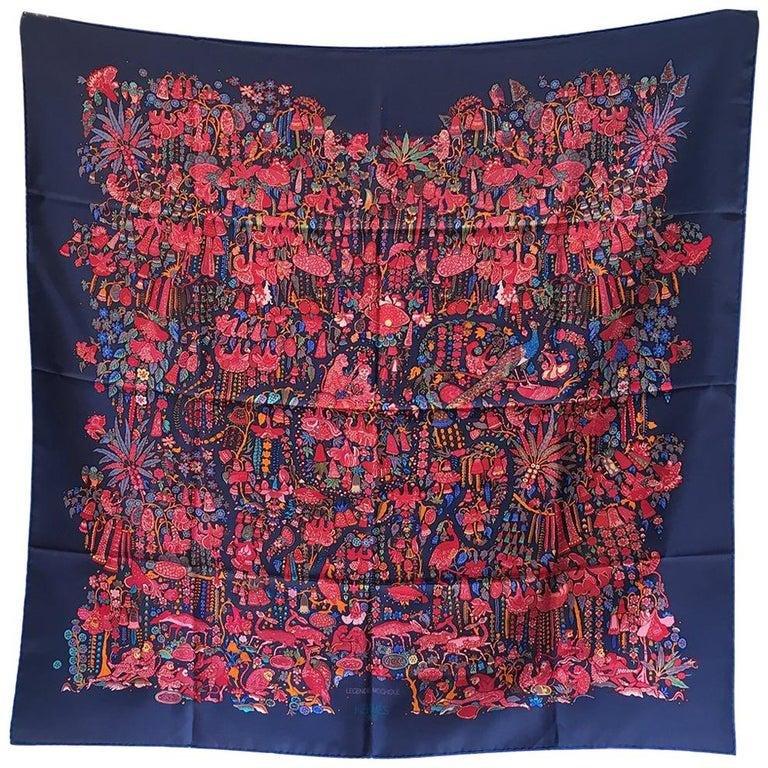 Hermes Legende Moghole Silk Scarf in Navy Blue