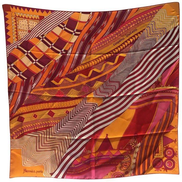 Hermes Coupons Indiens Silk Scarf in Orange, circa 2008