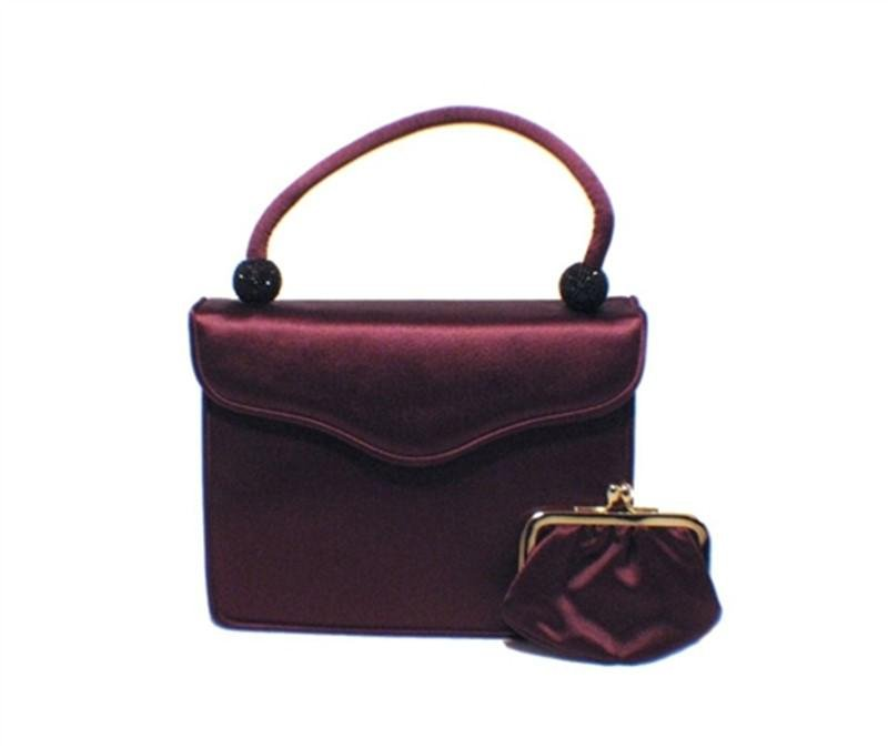 Judith Leiber Plum Satin & Swarovski Evening Bag