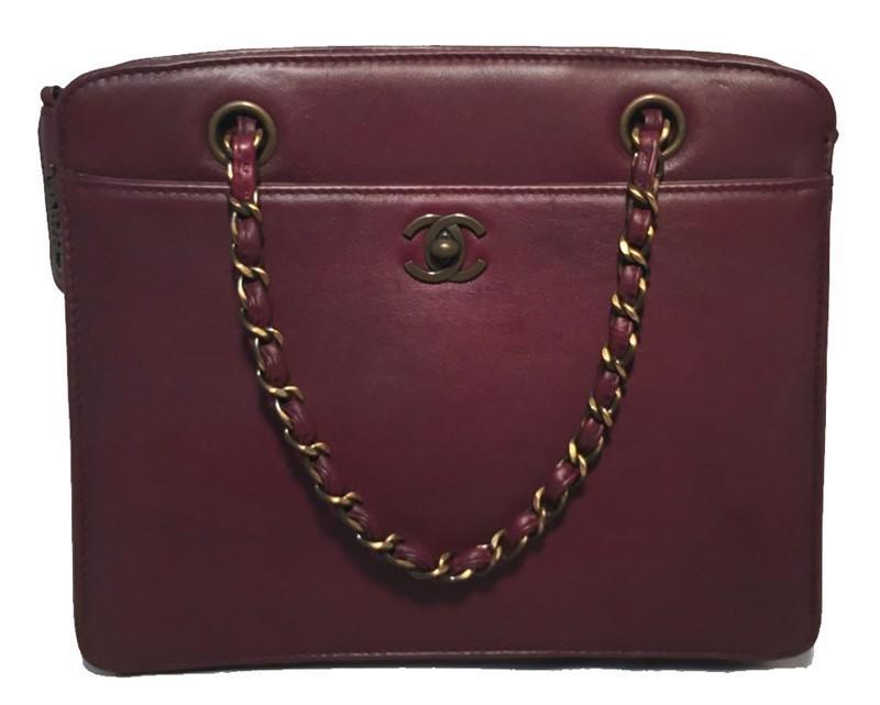 RARE Chanel Maroon Leather Handbag