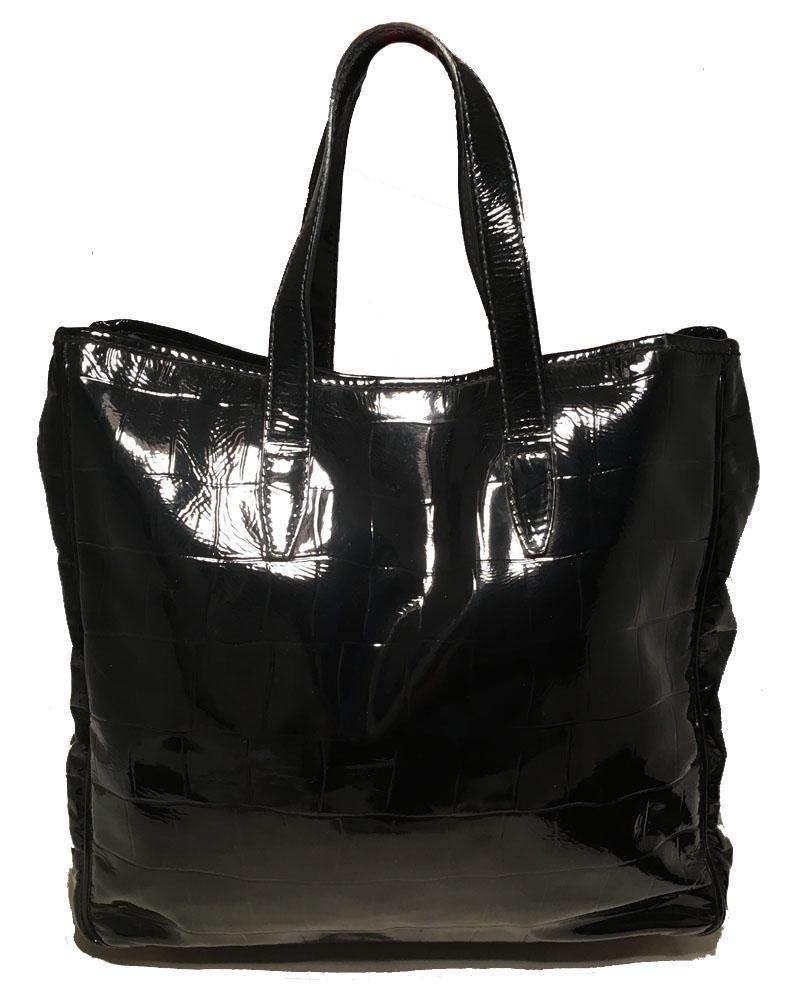 Yves Saint Laurent Black Patent Embossed Tote Bag
