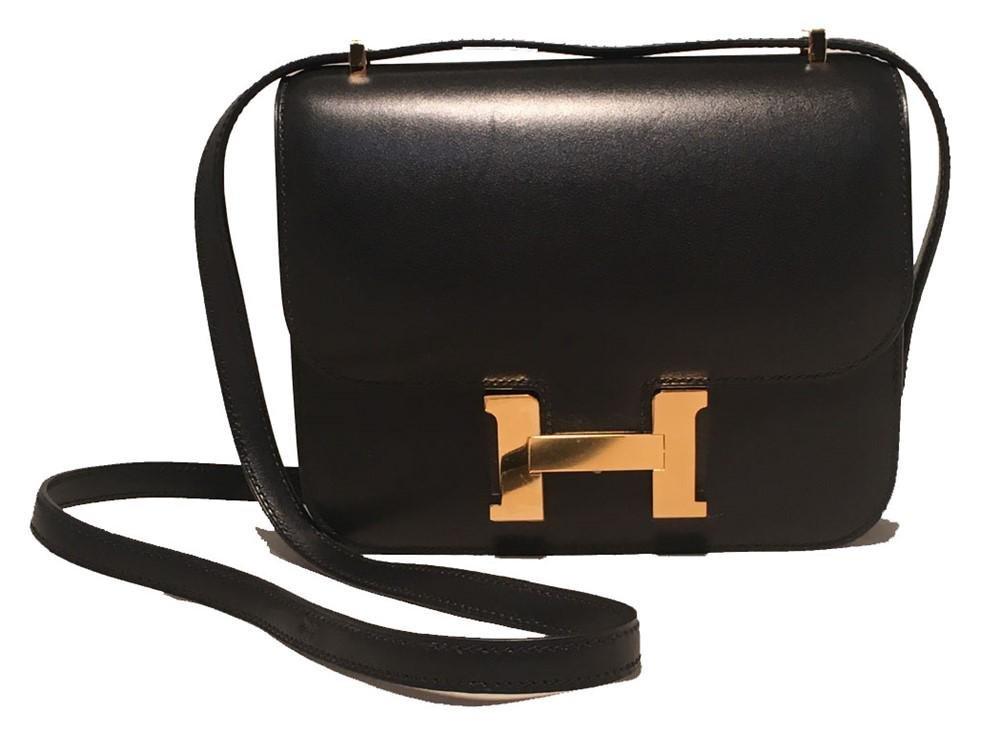 NEW Hermes 18cm Mini Black Box Calf Constance Shoulder
