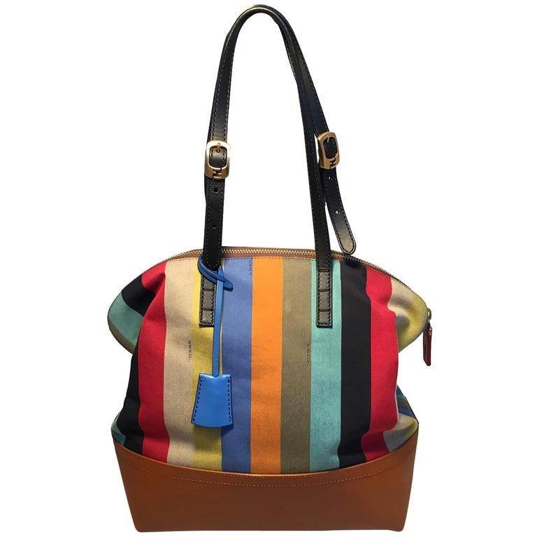Fendi Multicolor Stripe 2Bag Shoulder Bag Tote