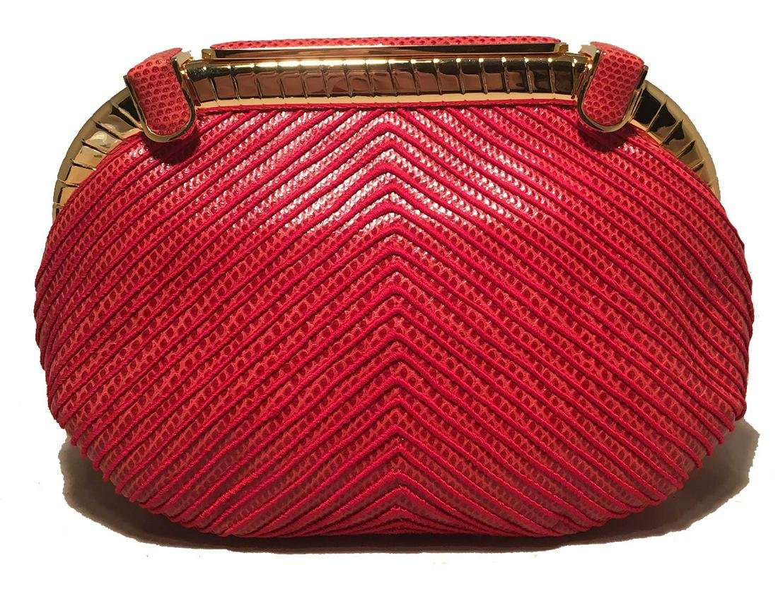 Judith Leiber Vintage Red Lizard Embroidered Clutch