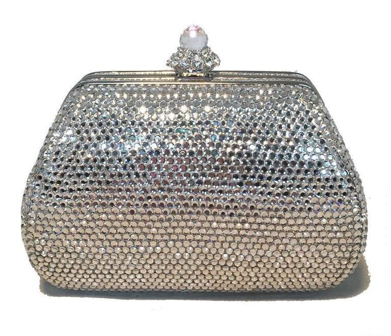 Judith Leiber Silver Swarovski Crystal Mini Purse