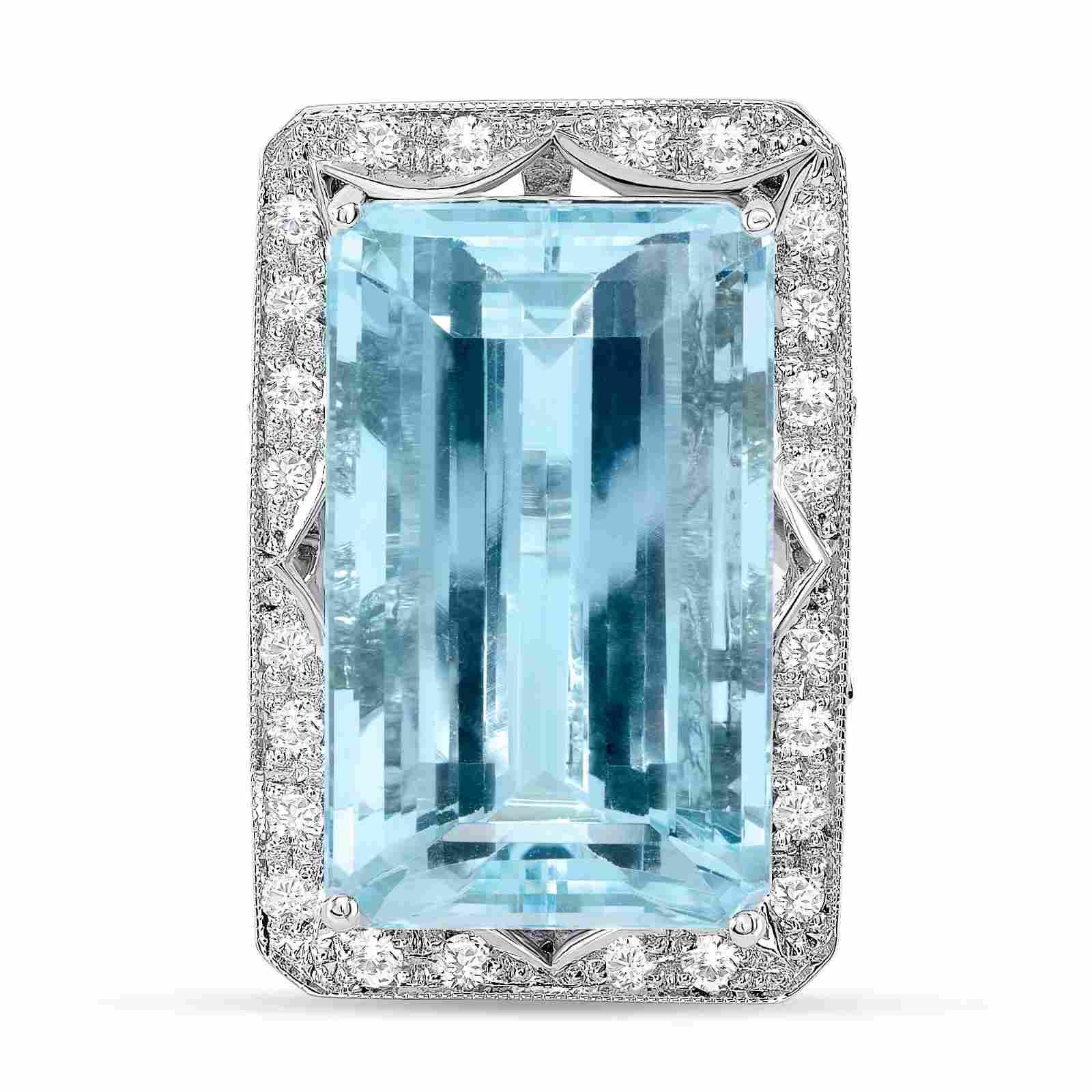 31.4ct Emerald Cut Aquamarine & Diamond Ring