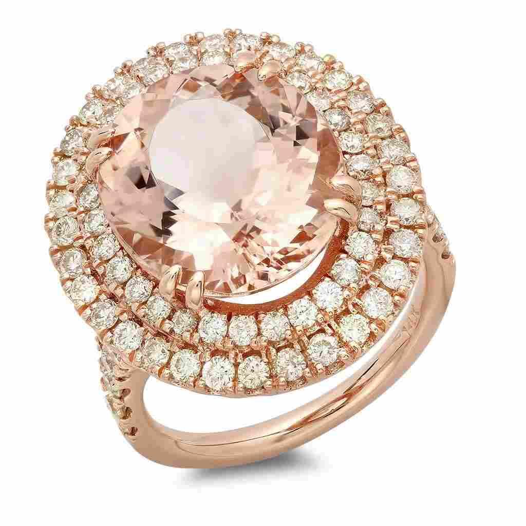 8.42ct Morganite 14 K Rose Gold Ring
