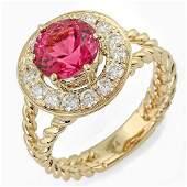 187ct Pink Tourmaline 14 K Yellow Gold Ring