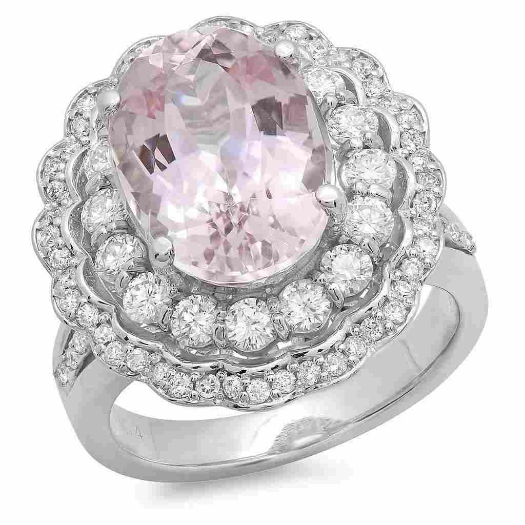 7.33ct Morganite 14 K White Gold Ring