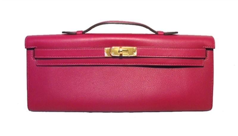 Hermes Fuchsia Swift Leather Kelly Clutch Handbag-rare