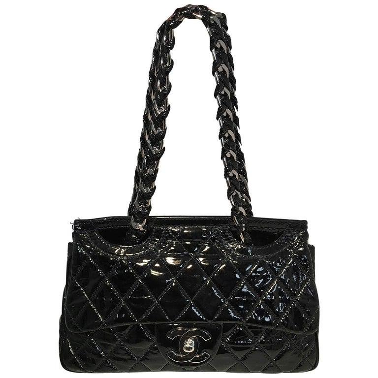 Chanel Black Patent Leather 2 way Classic Flap Shoulder