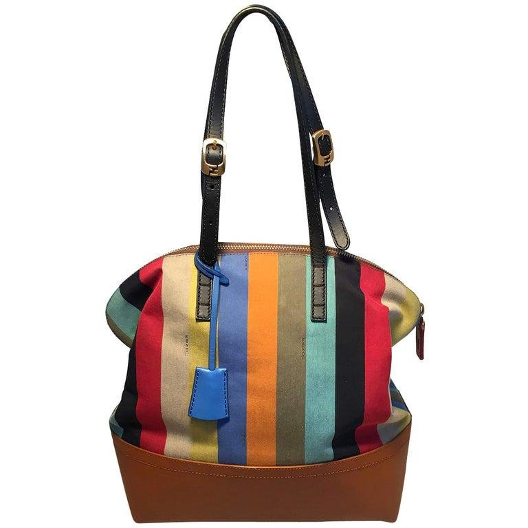 Fendi Multicolor Stripe 2Bag Shoulder Bag Tote