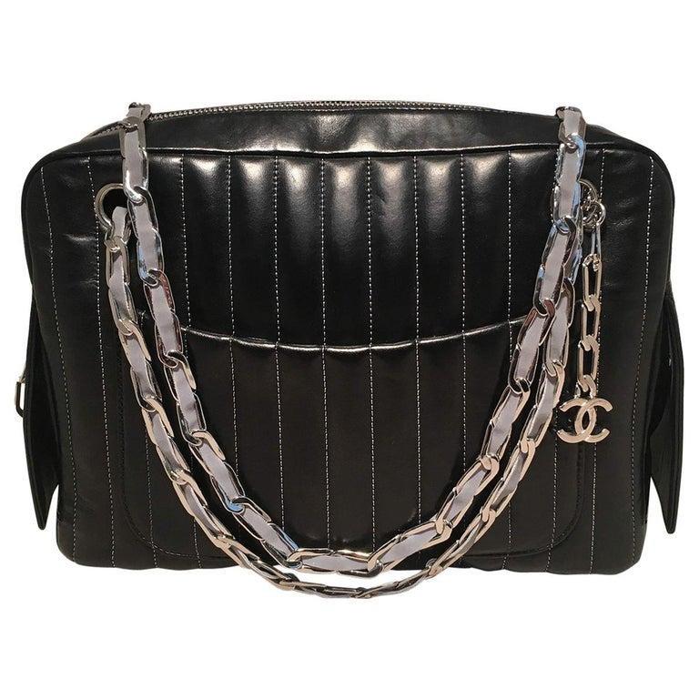 Chanel Mademoiselle Ligne Vertical Quilted Black