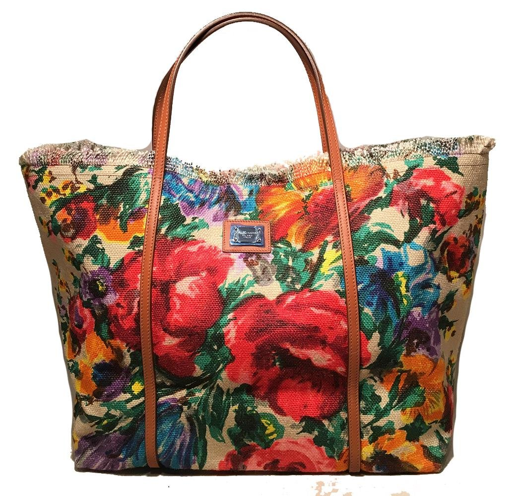 Dolce and Gabbana Floral Print XL Canvas Tote Weekend