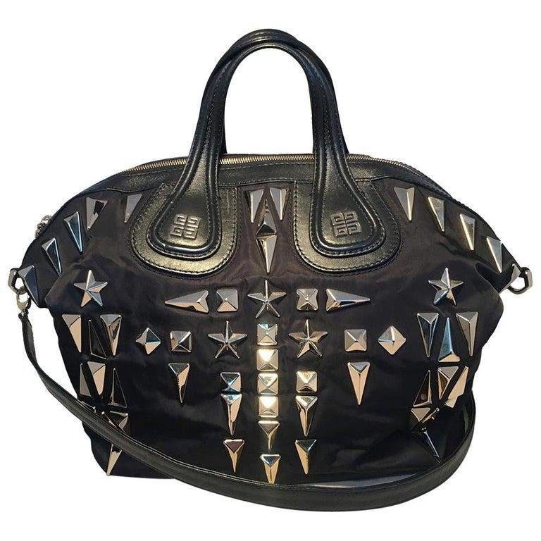 Givenchy Black Nylon and Leather Silver Studded Medium