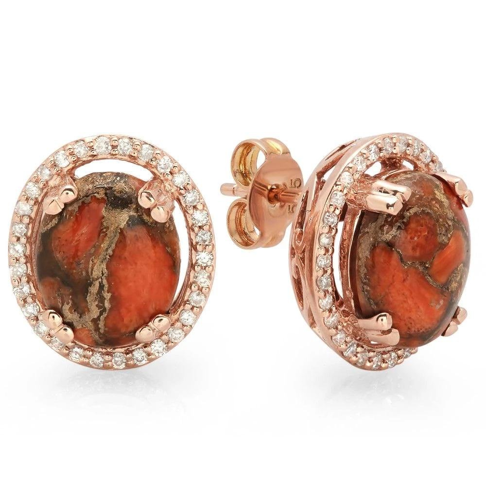 3.45ct Copper Turquoise 14 K Rose Gold Earrings