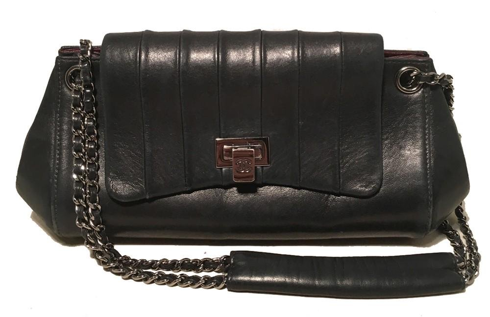 Chanel Black Leather Pleated Top Flap Classic Shoulder