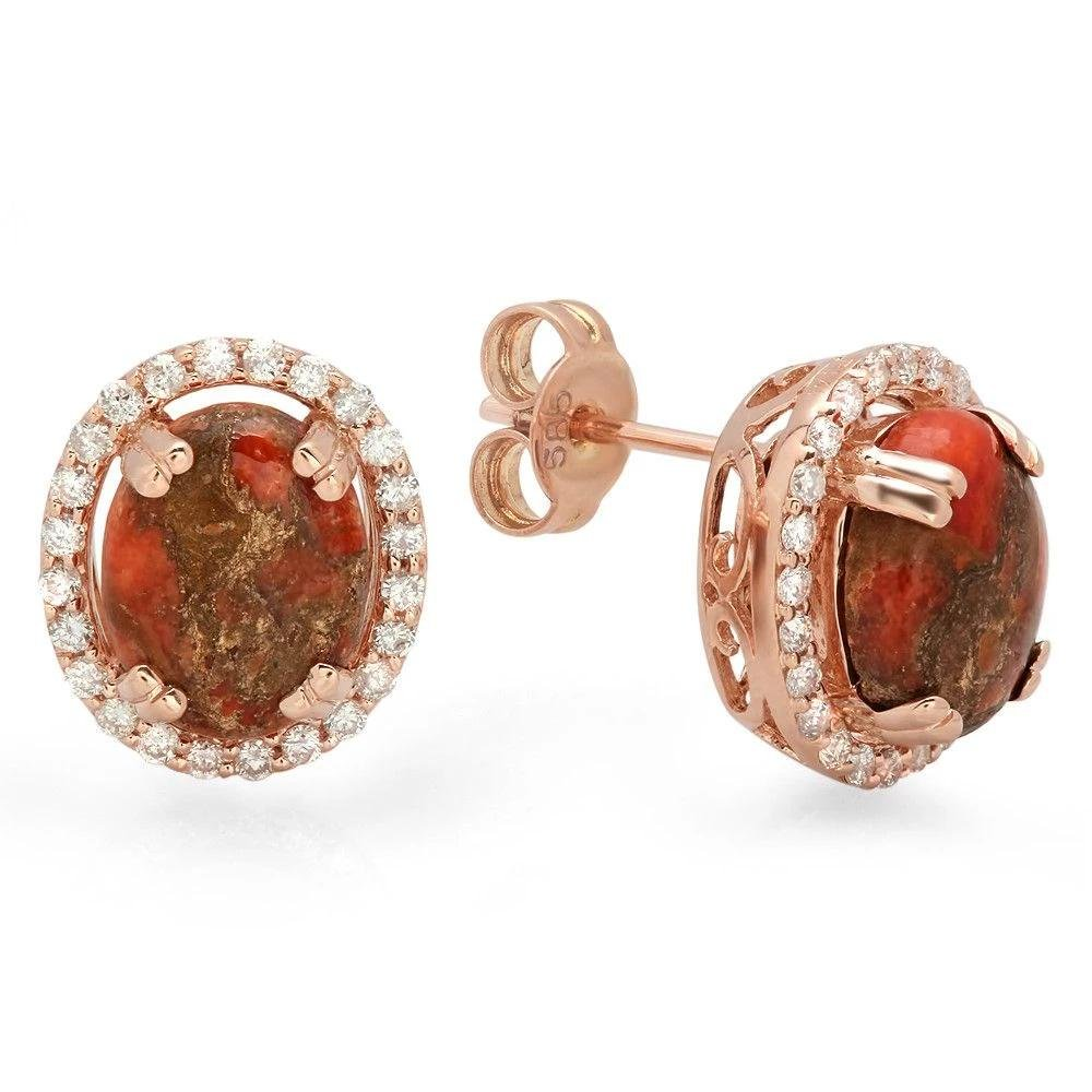 2.7ct Copper Turquoise 14 K Rose Gold Earrings