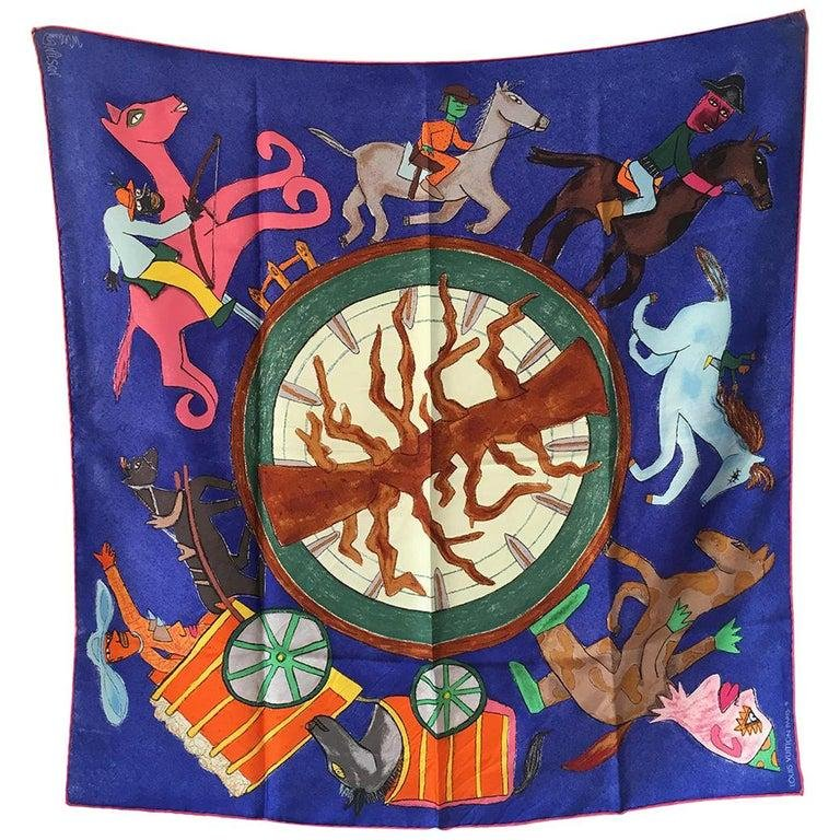 Louis Vuitton William Wilson Les Chevaux Silk Scarf in