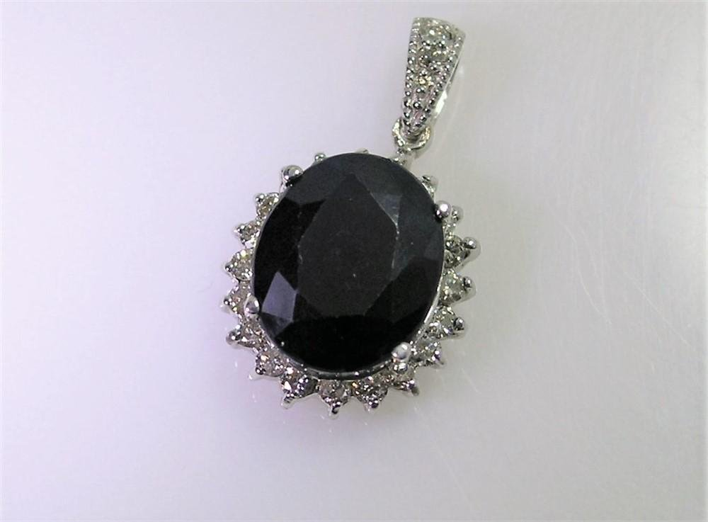 5.08ct Blue Sapphire 14K White Gold Pendant