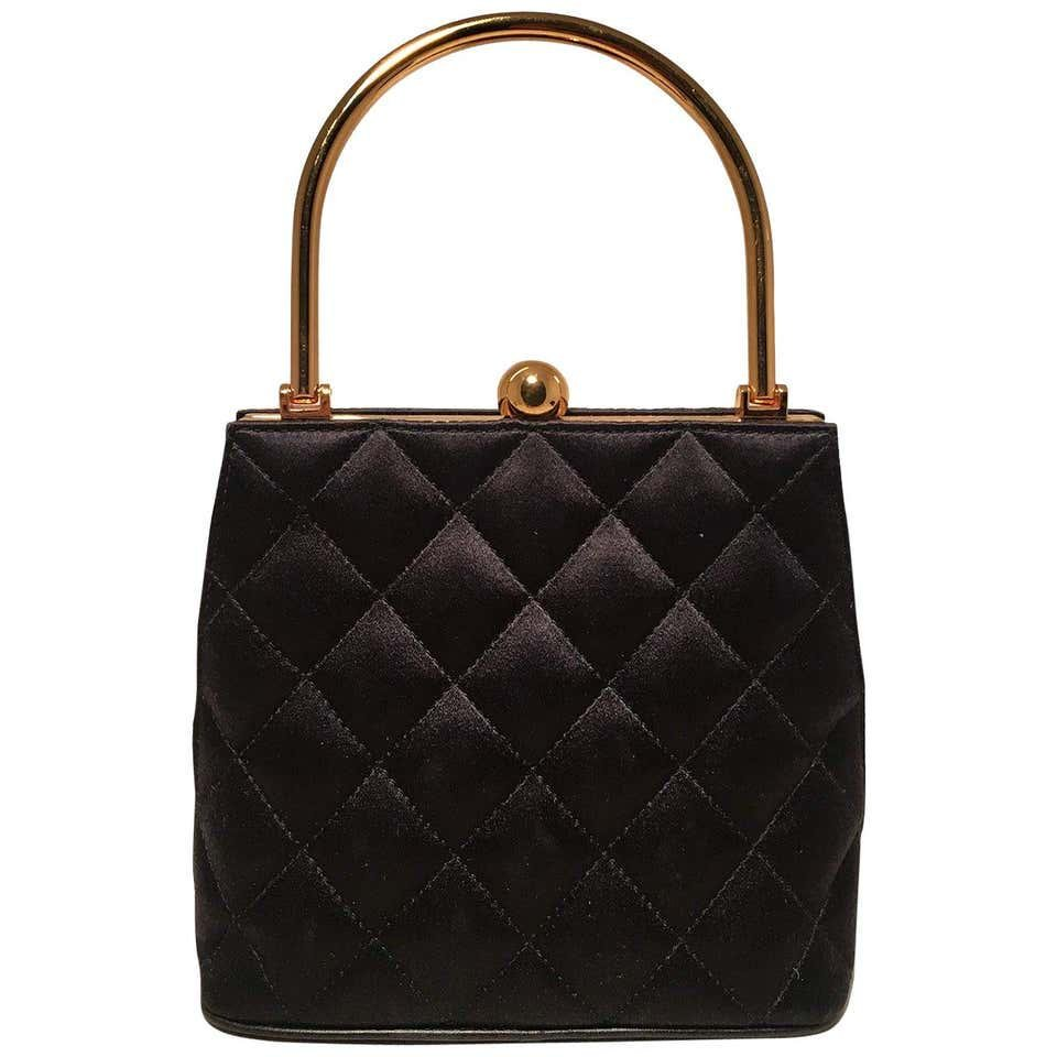 Chanel Vintage Black Quilted Silk Gold Handle Small